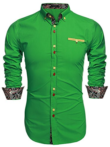 Coofandy Camicia Uomo Manica Lunga Camicie Uomo a Righe Casual Informale Verde M