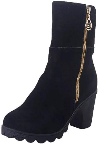 ZHRUI Stiefel schuhe de damen Stiefel de damen Stiefel de tacón Medio Botines de Invierno Martin Calzado de Bota cálida Calzado Casual clásico Stiefel de Ante (Farbe   schwarz, tamaño   39 EU)
