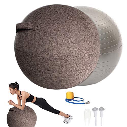 POIUYT Stoff-Sitzball Büro,Gymnastikball 55cm/65cm/75cm mit Cover Luftstopfen und Werkzeuge für Fitnessball Yogaball ergonomisches Sitzmöbel für Büro und Zuhause,Kaffee,65cm