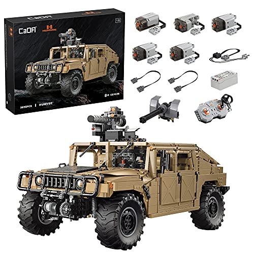 BBDI CADA C61036W Técnica todoterreno RC para Humvee Hummer, escala 1/8 grande, todoterreno, militar, con motor e iluminación, 3935 piezas de sujeción, compatible con Lego
