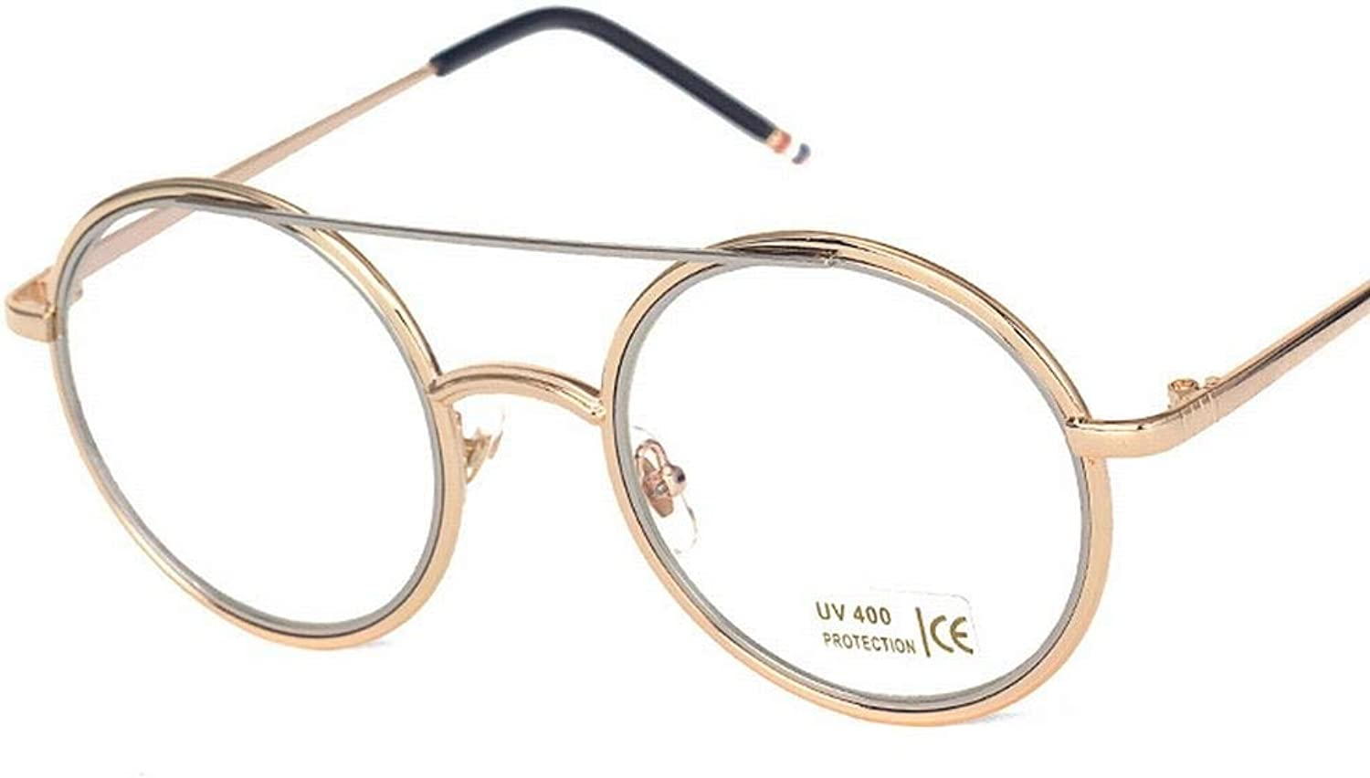 Girls Metal Round Myopia Glasses Frame Flat Mirror with Clear Lenses Eyeglasses. (color   gold Grey)