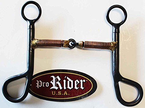 """Tackmaster Black Argentine 5"""" Copper Wire Wrapped Snaffle Mouth 6"""" Cheek Horse Bit 35110"""