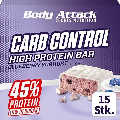 Body Attack Carb Control, Yogur de arándanos, barra proteínica de 100g sin azúcares añadidos, baja en carbohidratos y alta en proteínas, barra proteica con suero, también en la caja mezclada.