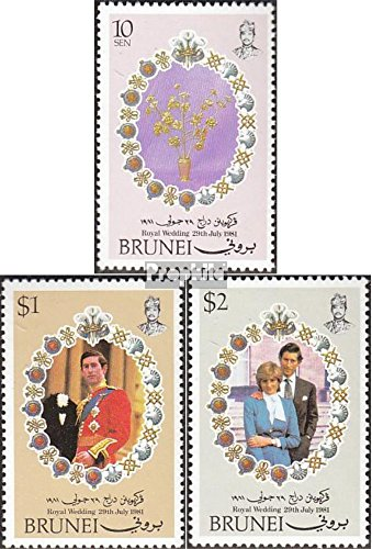 Prophila Collection Brunei 252-254 (kompl.Ausg.) 1981 Hochzeit Prinz Charles + Lady Di (Briefmarken für Sammler) Prominente / Film / Theater