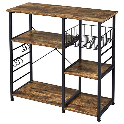 Yaheetech 35.5 in Kitchen Baker's Rack,3-Tier Microwave Cart Stand Utility Storage Shelf Workstation,Kitchen Island Rack for Spice Rack Organizer w/6 S-shaped Hooks,Easy Assembly