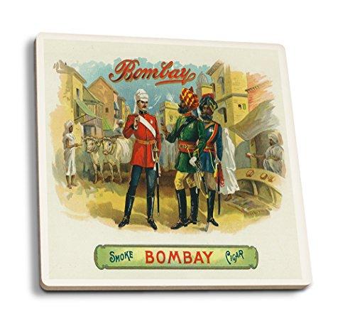 Bombay Marque Boîte à cigares à imprimer, Céramique, multicolore, 4 Coaster Set