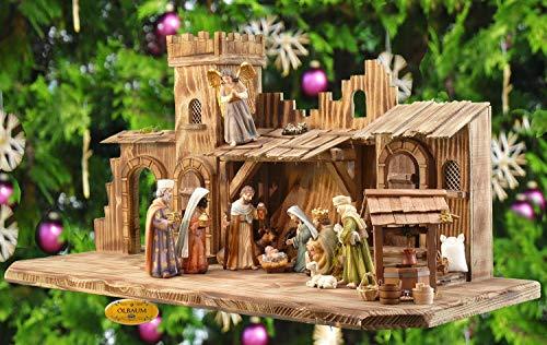Weihnachtskrippe-Krippenstall KB70ng-MFPO-BRK- XXL 70cm Mittelalter Burg-Weihnachtskrippe-Krippenstall, mit LED + Brunnen + Dekor, Massivholz edel