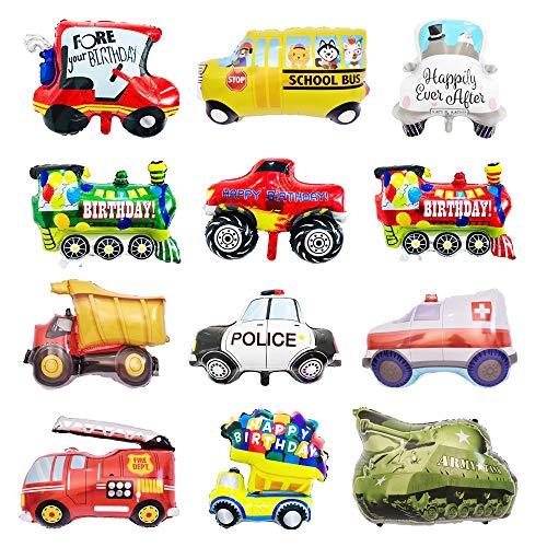 CUGBO 12Pcs Balloon Set, Vehicles Aluminum Foil Balloons, Helium Mylar Cars Balloons Kits for Kids Children Party Decor Supplier