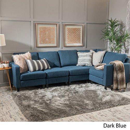 Christopher Knight Home Carolina Dark Blue Fabric Sectional Sofa
