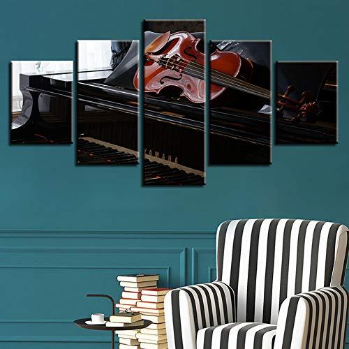KDSFHLL 5 Dekorative Gemälde Wandkunst Hd Gedruckt Moderne Leinwand 5 Panel Gitarre Piano Music Bilder Wohnkultur Wohnzimmer Modulare