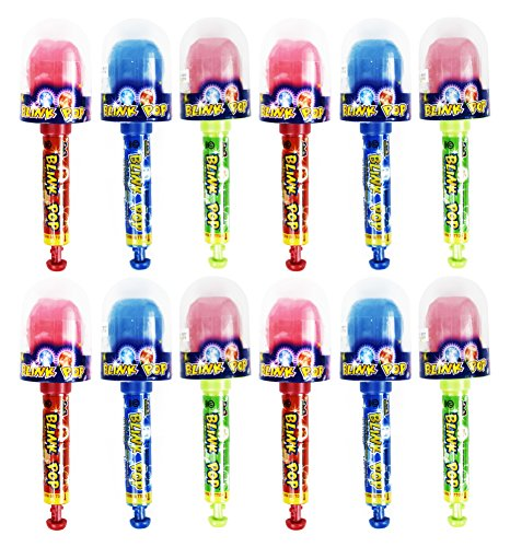 Set of 12 -Assorted Blink Pop Candies! Lollipops That Really Light Up! Perfect for Movie Night, Feild Trips, Road Trips and More!
