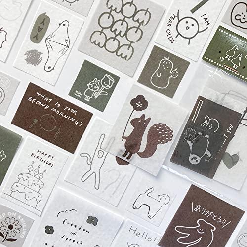 TNYKER シール フレークシール 手帳ステッカー 手描き イラスト 韓国風 スケジュール 手帳 ノート 手紙 カレンダー シンプル おしゃれ かわいい 40枚セット HEY,WIND
