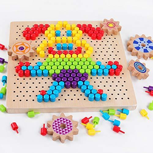 Rain City 2019 Champignon Nail Pixel Plan Jouets éducatifs Développement pour Enfants Jardin d'enfants Puzzle Intelligence Jouets Early Education adaptée pour Les bébés de Plus de 3 Ans