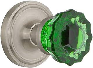 Nostalgic Warehouse 724100 Classic Rosette Privacy Crystal Emerald Glass Door Knob in Satin Nickel, 2.75