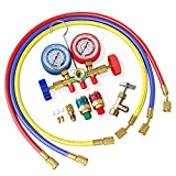 AURELIO TECH A/C Diagnostic Manifold Gauge Set, Fits R134A R12 R22 and R502 Refrigerants, with 5FT Hose, Acme Tank Adapters, Couplers and Can Tap
