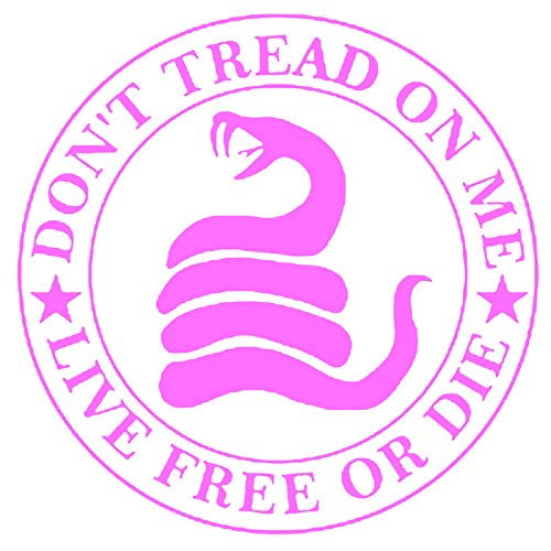 KCD Don't Tread On Me Live Free Or Die Vinyl Decal Sticker|Walls Cars Trucks Vans Laptops|Pink|5.5 in|KCD735P