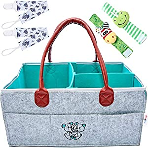 HugnHugs Baby Diaper Caddy Organizer for Changing Table – Baby Registry Must Haves for Boys and Girls – Storage Caddy station- Portable Diaper Caddy – Diaper Basket Organizer – Baby Nursery Organizer