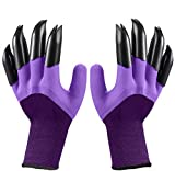 Garden Gloves with Claws Digging soil and planting gardening gloves garden split claw gloves (Purple)