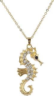Lux Accessories Gold Tone Crystal Rhinestone Nautical Aquatic Seahorse Necklace