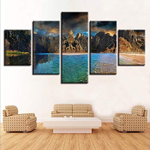 WHFDH canvas afbeelding decoratie afdrukken 5 stuks bergen en zee schilderij Sea Tree Natuur Landschap Poster muurkunst Size Framed donkerblauw
