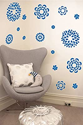 Flower Pattern Wall Decal - Removable DIY Vinyl Sticker Girls Room Art Home Decor Graphic Transfer