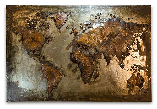 Phoenixarts Erde Bild 3D Weltkarte - 120x80/100x65/80x55 - Bild Küche Industrie Design Wandrelief Unikat 40 Motive 379 (80x55cm)