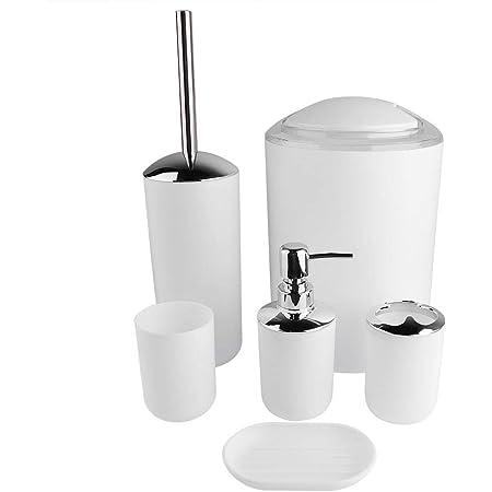 TOPSALE 6 Pezzi//Set Accessori da Bagno Porta Spazzolino in Plastica Tazza Dispenser di Sapone Piatto Porta Scopino Porta Spazzole Set