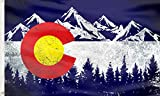 Colorado Flag Mountain Flags Banner,Colorado CO Flags Vintage Mountain Canvas Header UV Resistance Fading & Durable Wall Flag Heavy Duty with Brass Grommets for Dorm Room Decor,Outdoor,Party 3x5 Ft