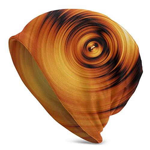 BGDFN Gorro de Punto de Arte Abstracto con Espiral Dorada, Gorros Calientes elásticos, Gorros de Calavera con puños Suaves, Gorro Diario para Unisex