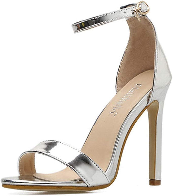 Chenyuan Frauen Sexy High Heel Sandalen Mode High Heel Toe (Farbe   Silber, Größe   36)