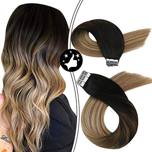 Moresoo Tape in Hair Rooted 40pcs 100g 22Inch Brown Highlighted Tape in Hair Extensions Balayage Tape on Human Hair Black to Blonde Hair Extensions Remy Glam Seamless Skin Weft Hair Extensions