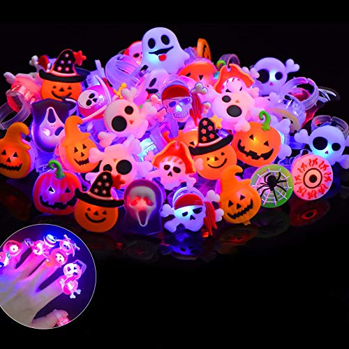 Scientoy Halloween LED Rings, 50 Pcs Light up Rings for Kids & Adults, Halloween Party Favors Supplies in The Dark Rave, Luminous Ring Decorations for Halloween Party & Event with Various Shapes