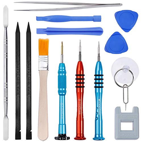 Vastar 16Pcs Cell Phone Repair Tool Kit for iPhone Precision Screwdriver Set with Magnetizer/ Demagnetizer Tool & Opening Pry Tools for iPhone 12/X/8/8 Plus,7/7Plus,6P/6S/6/5S/5/5C/4S/4/SE,iPod,iTouch