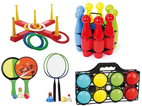 Androni Giocattoli Mega Outdoor Spiele Set für Draußen Kinderparty Wurfspiel Boccia Kegeln UVM
