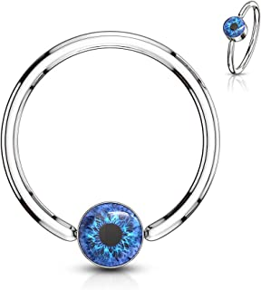 Eyeball Inlay Round Flat Cylinder Captive Bead Ring 316L Surgical Steel (Choose Size)