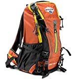 45L Internal Frame Hiking and Camping Daypack Backpack with Ripstop Water-Resistant Nylon by Grizzly Peak (Orange)