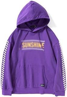 Mens Hooded Sweatshirt Loose hooded pullover trend hip hop printing youth Drawstring color simple coat