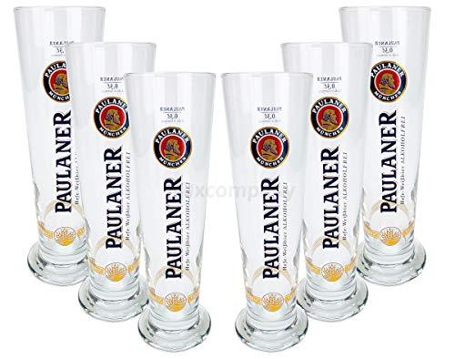 Paulaner - Set di 6 bicchieri da birra senza alcol, graduati da 0,3 ml