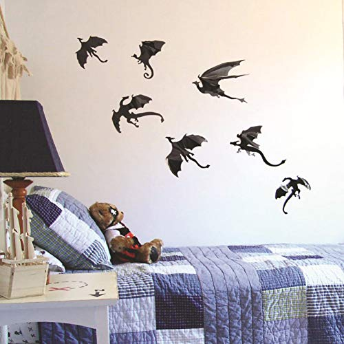VIOYO 7-delige set Fantasy Halloween Fun Wall Sticker voor de kinderkamer decoratie dinosaurus boys Gift 3D Dragon Wall Art Draak Silhouetten