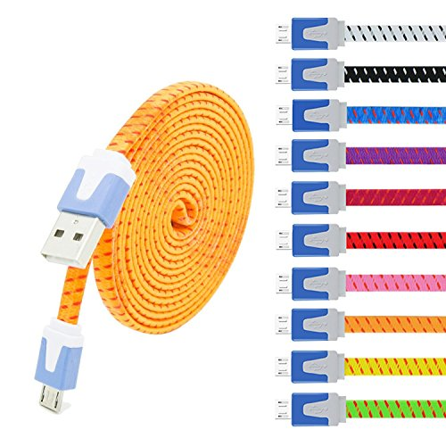 Eversame 10-Pack 6Ft 2M Nylon Braided USB 2.0 A Male to Micro B Sync Charger Cord for Samsung Galaxy Note 5/S6, HTC, and more(Black White Purple Pink Hot Pink Red Yellow Blue Green Orange)