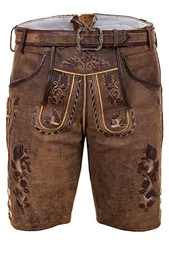 Bayerische Traditionelle Kurze Lederhose Thomas mit passendem Trachtengürtel Gr. 52