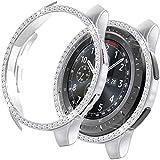 MroTech Funda Compatible con Samsung Galaxy Watch 46mm/Gear S3 Case Protector de Brillante Diamantes de imitación Cristal Bling Rugged Cover PC Estuche para S3 Frontier/Galaxy 46 mm-Rhinestones Plata