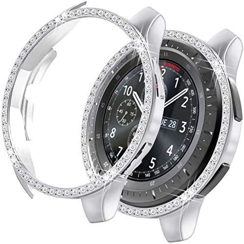 MroTech Cover Compatibile con Samsung Galaxy Watch 46mm/Gear S3 Custodia Bling Case Protezione Diamante Strass Lucido Rugged Bumper PC Protector per S3 Frontier/Galaxy 46 mm Smartwatch,Argento