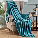MIULEE Ultra Soft Fleece Blanket Luxurious Fuzzy for Couch or Sofa Lightweight Fluffy Warm Bed Blanket with Cute Pompom Tassels Throw Size 50x60 inches Turquoise