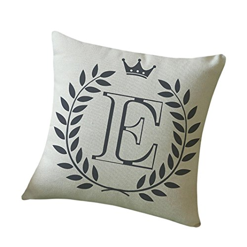 Kissenbezug 45 x 45 cm Brief A-Z Drucken Dekokissen Fall Sofa Home Decor Pillow Cover LuckyGirls (E)