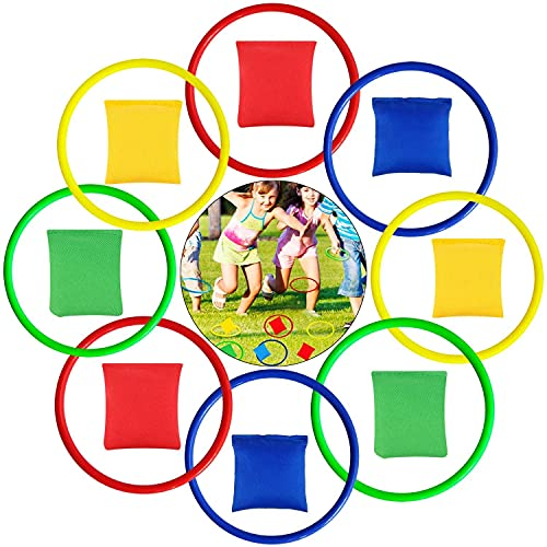 LATERN 16Pcs Nylon Bean Bags and Plastic Rings, Multicolor Toss Game Sets for Kids Bean Bag Toss Game Garden Backyard Outdoor Games Speed and Agility Training Games