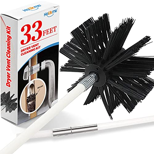 Holikme 33 Feet Dryer Vent Cleaning Brush, Lint Remover, Extends Up to 33 Feet, Synthetic Brush Head, Use with or Without a Power Drill