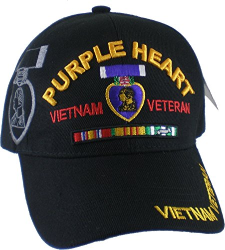 Purple Heart Vietnam Veteran Red Letter Shadow Mens Cap [Black - Adjustable]