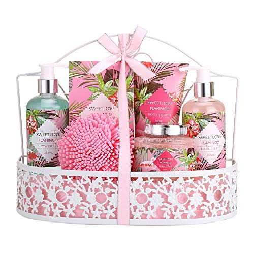 Christmas Day Gifts - Bath Spa Gift Set, SWEETLOVE Gift Basket 7-Piece Includes Bubble Bath, Shower...
