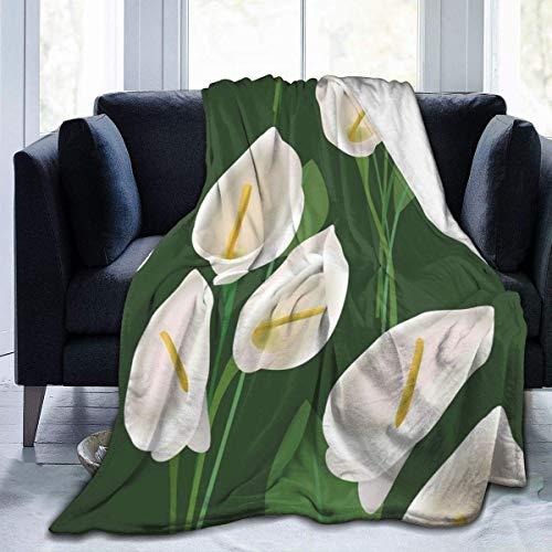 TUCBOA Mantas de Tiro de Peso Ligero con Flores Blancas Gigantes de Arum, Manta de Cama, Manta de sofá, Funda de sofá para Exterior/Interior M